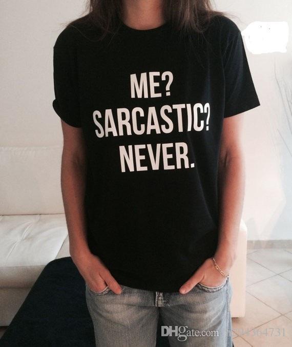 Großhandels-Neue Frauen-T-Shirt ich sarkastisch nie Brief-Druck-Baumwolllustiges beiläufiges Hipster-Hemd für Dame Black Top Tees
