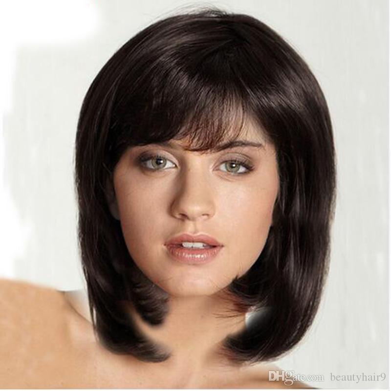 Sıcak bob kısa düz tam peruk simülasyon İnsan saç kısa bob peruk stil yan kısmı peruk stokta ücretsiz kargo