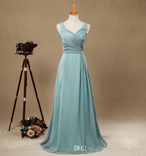 Robes de demoiselle d'honneur élégantes bleues poussiéreuses Robes de soirée en mousseline de soie longueur de plancher
