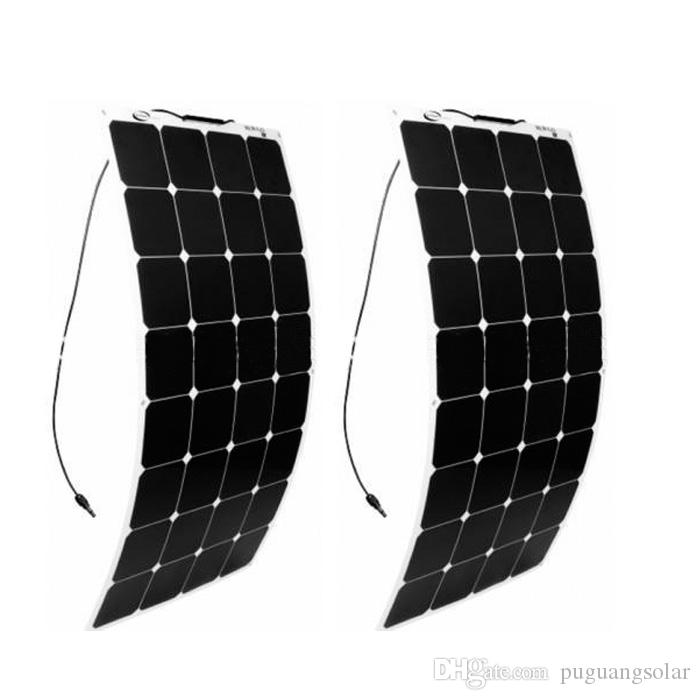 olarparts 2 قطع * 100 واط مرنة الشمسية لوحة الخلايا الشمسية قارب rv الشمسية وحدة لل سيارة / rv / قارب 12 فولت شاحن البطارية