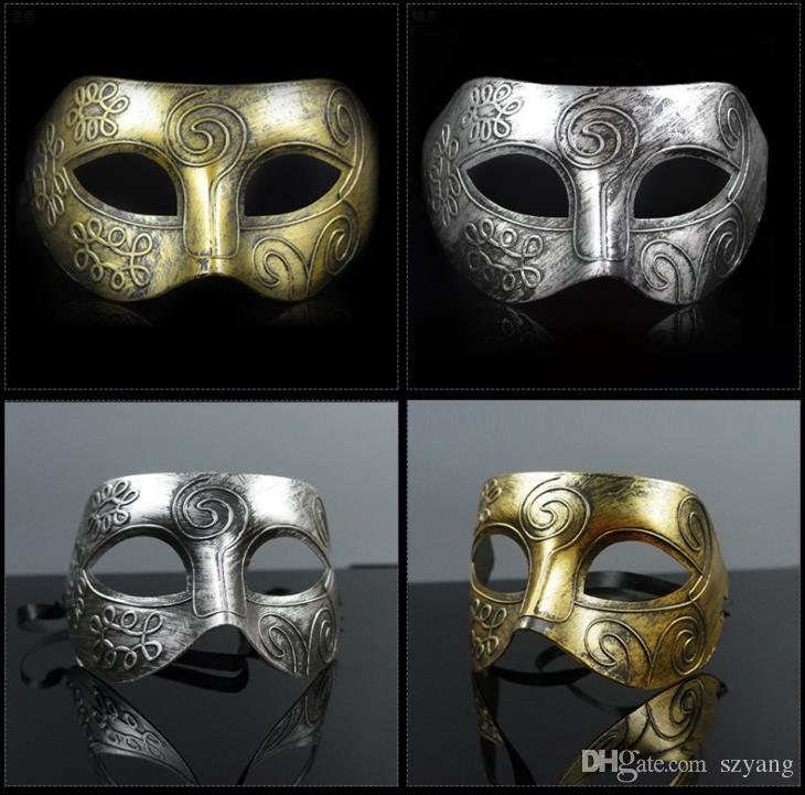 (500 pezzi / lotto) Nuova maschera di cavaliere romana di plastica retrò Maschere di palla maschere e maschere da donna Bomboniere per feste Vestire