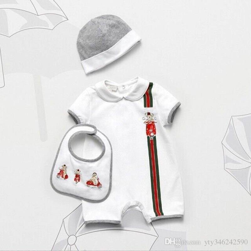 Neue Sommer-neugeborene Baby, Mädchenspielanzug Hut Lätzchen 3 Sätze ropa para bebe Unisex Baumwolle Bär Muster neugeborene Kleidung Babyausstattung