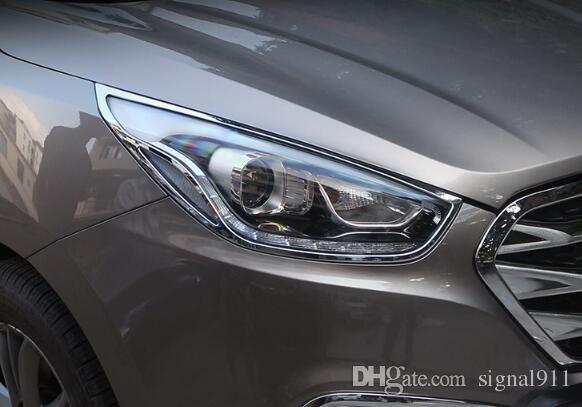 Qualität ABS-Chrom 2ST Scheinwerfer Dekoration Verkleidungsabdeckung + 2pcs Rücklicht-Dekoration Verkleidungsabdeckung für Hyundai IX35 (Tuson) 2012-2015