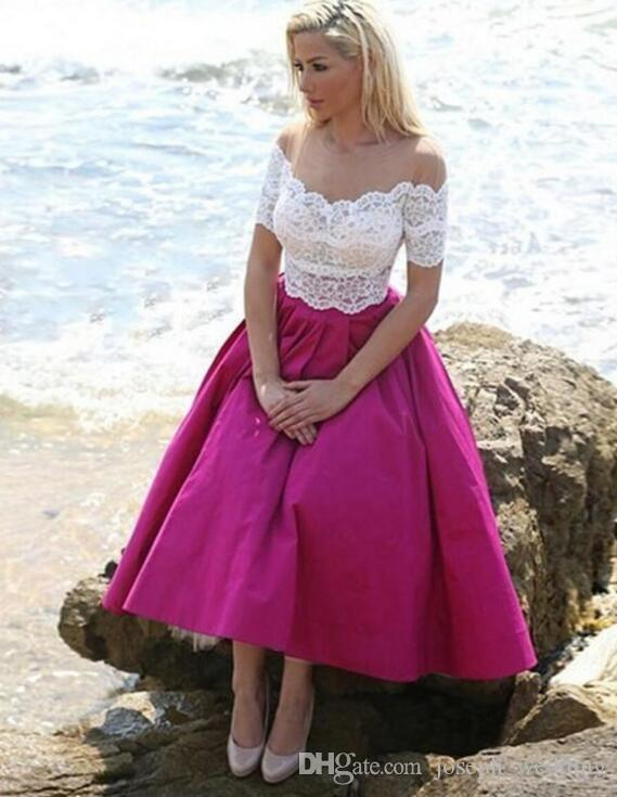 Robe de soiree Short Sleeves A Line Evening Dress Rose Pink Long Prom Gowns White Appliques For Graduation On Sale
