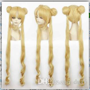 Girl Sailor Moon Cosplay Costumes Wig Tsukino Usagi And Princess Serenity curls Wear Hair Heat Resistant Hair