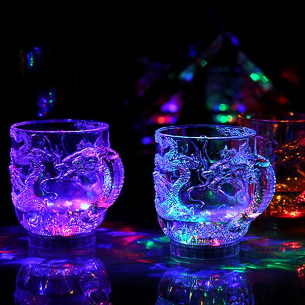 led glass wine into the water bright crystal wine glass luminous cup colorful bar cups the
