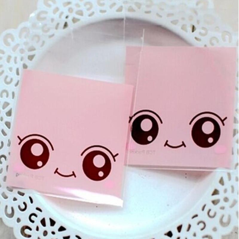 7 * 7 cm Selo Auto-adesivo 800 Pçs / lote Rosa Grande Boneca de Olhos pacote de biscoito Pacote de Evento Biscoito Lanche Sobremesa Assado Pacote de Doces saco