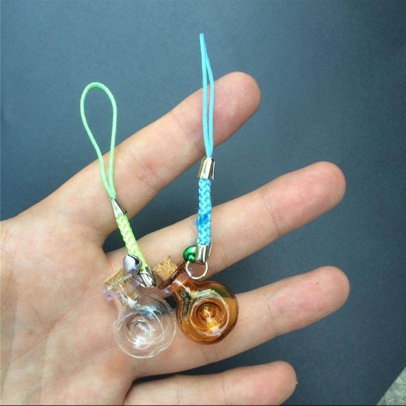 Mini Wine Bottles Form Glass Pendant with Nylon Rope Short Chains Mini Bell Bracelets Jars Glass Pendants Mixed Color3