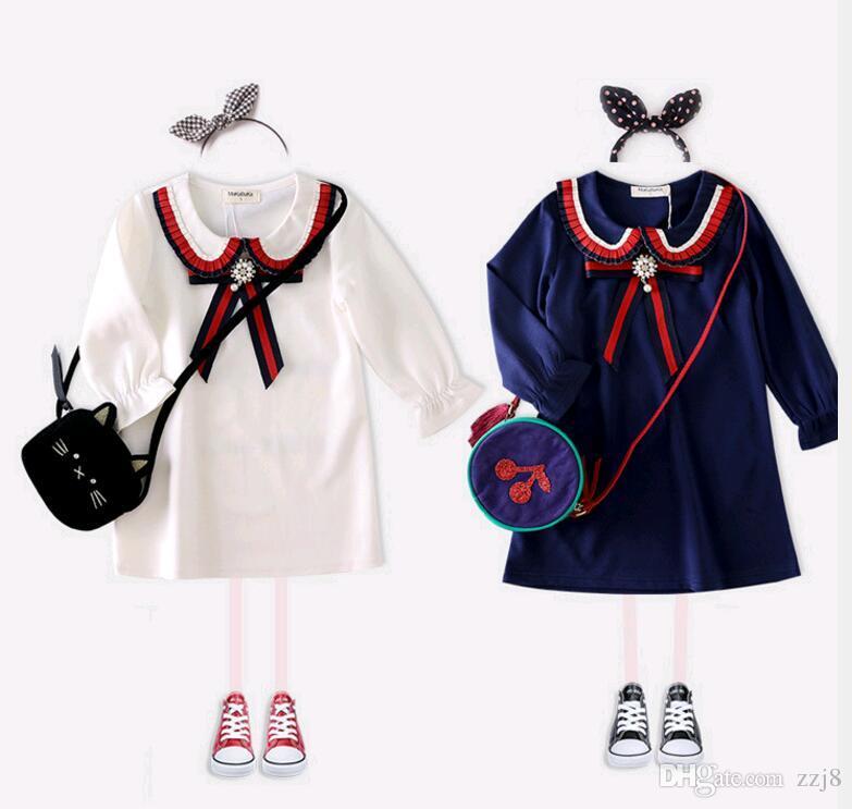 Angleterre 100% coton robe de style scolaire filles printemps automne baisse col robes de princesse pour enfants blanc bleu