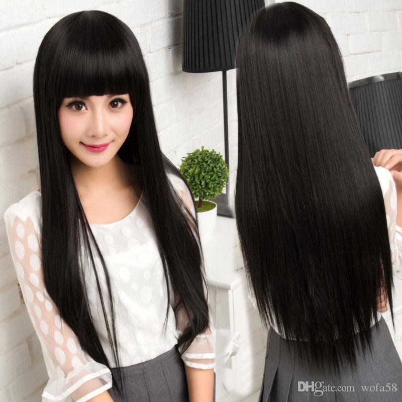 100% Menschenhaar! Peluca de cabello humano Geren Perücke de Damen Lang Schwarz 02