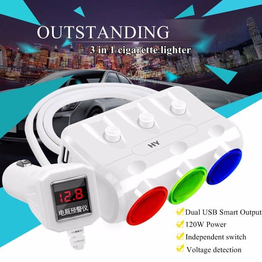 Çakmak Araç Şarj 12/24 V 120 W Prizler Adaptörü Splitter Araba DVR Radar Için 3.1A Çift USB Dedektörü iPhone Tablet PC