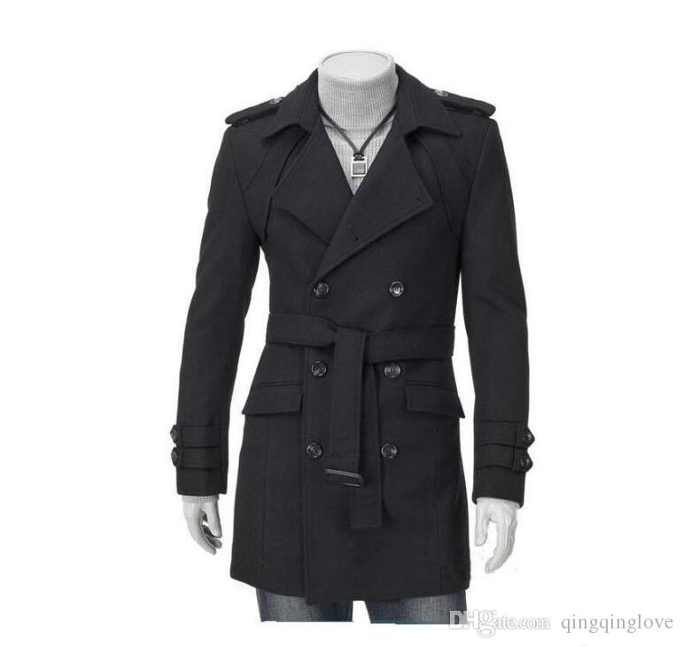 Moda novo homens casuais cinta de ombro duplo trinchada trincheira longo casaco lapel slim ajuste trench casacos exclusivos homens homens