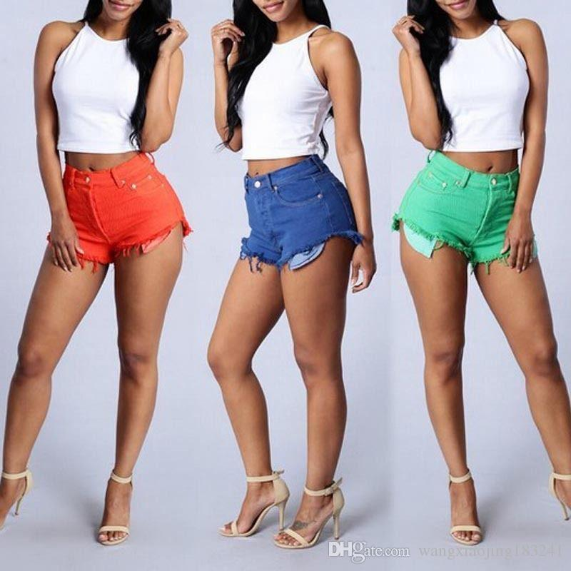 2017 2017 New Arrival Red Ripped High Waisted Jean Shorts Womens ...