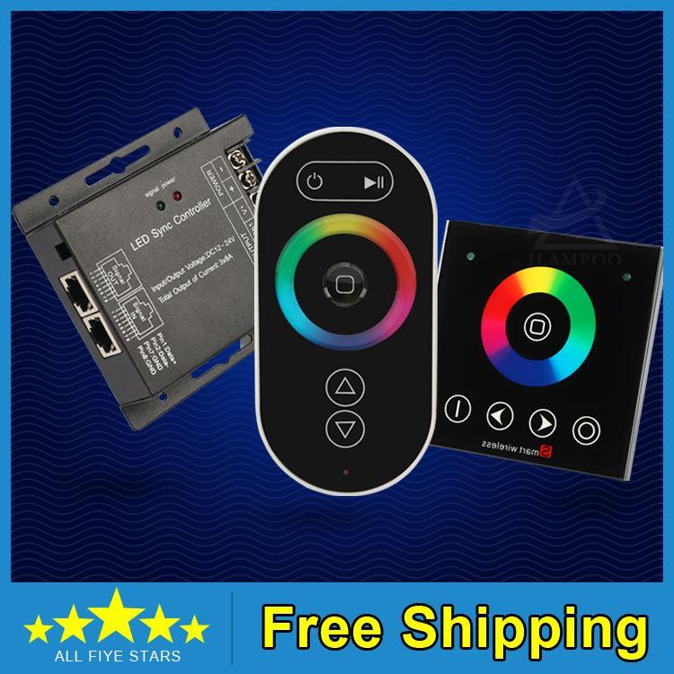 Free Shipping New design DC12-24V RGB synchronous controller ,RF Touch RGB controller, touch panel +wireless remote control