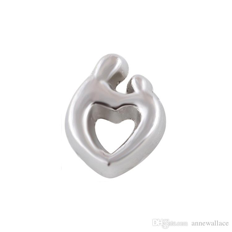 20pcs/lot free shipping good quality new type alloy mom and baby heart floating charms for glass living memory lockets