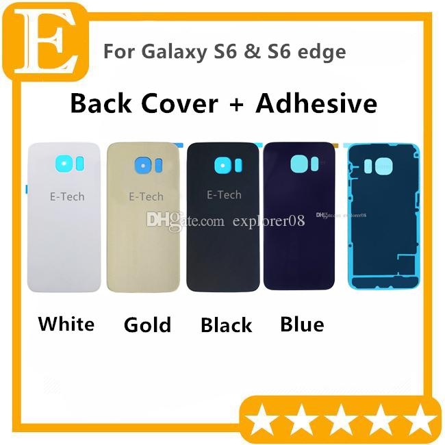 Battery Door Back Cover Glass Housing + Adhesive Sticker For Samsung Galaxy S6 G920 G920F G920T vs S6 edge G925 G925F G925T 50pcs/Lot