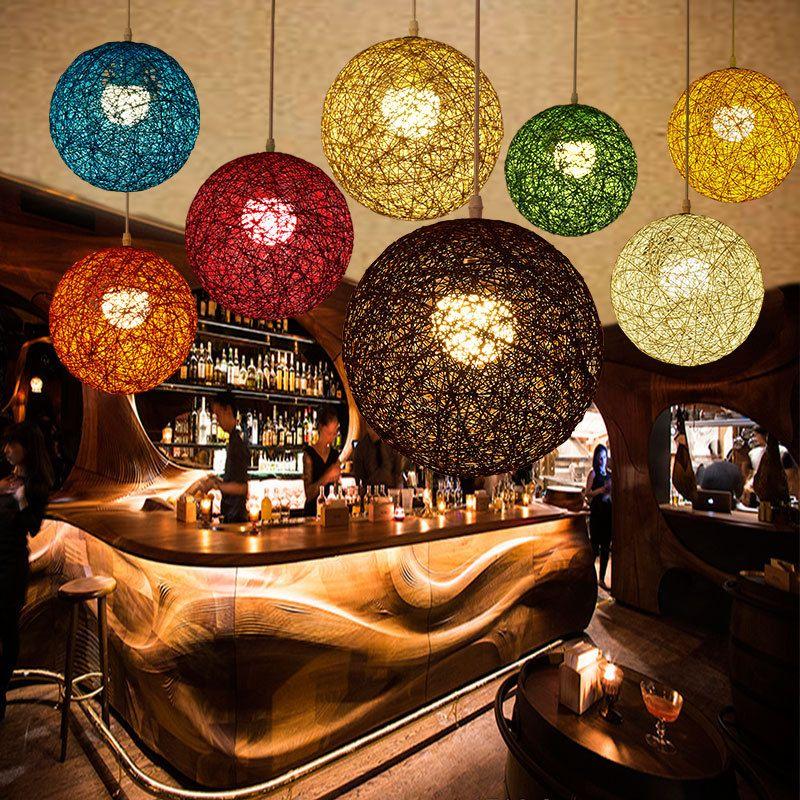 Nova Personalidade Criativa Pingente Colorido Lâmpadas Restaurante Bar Cafe Lâmpadas Rattan Campo Bola de Massa E27 luz Pingente
