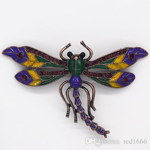 الجملة أزياء بروش حجر الراين المينا اليعسوب دبوس دبابيس المجوهرات هدية C101570