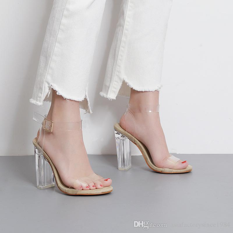 2017 Newest Women Pumps Celebrity Wearing Simple Style PVC Clear Transparent Strappy Buckle Sandals High Heels Shoes Woman Silver Shoes Mens Sandals