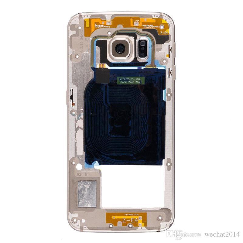Custodia con cornice centrale in metallo OEM per Samsung Galaxy S6 G920F Custodia con cornice singola G920P G920P G920P con pulsante laterale in vetro per fotocamera