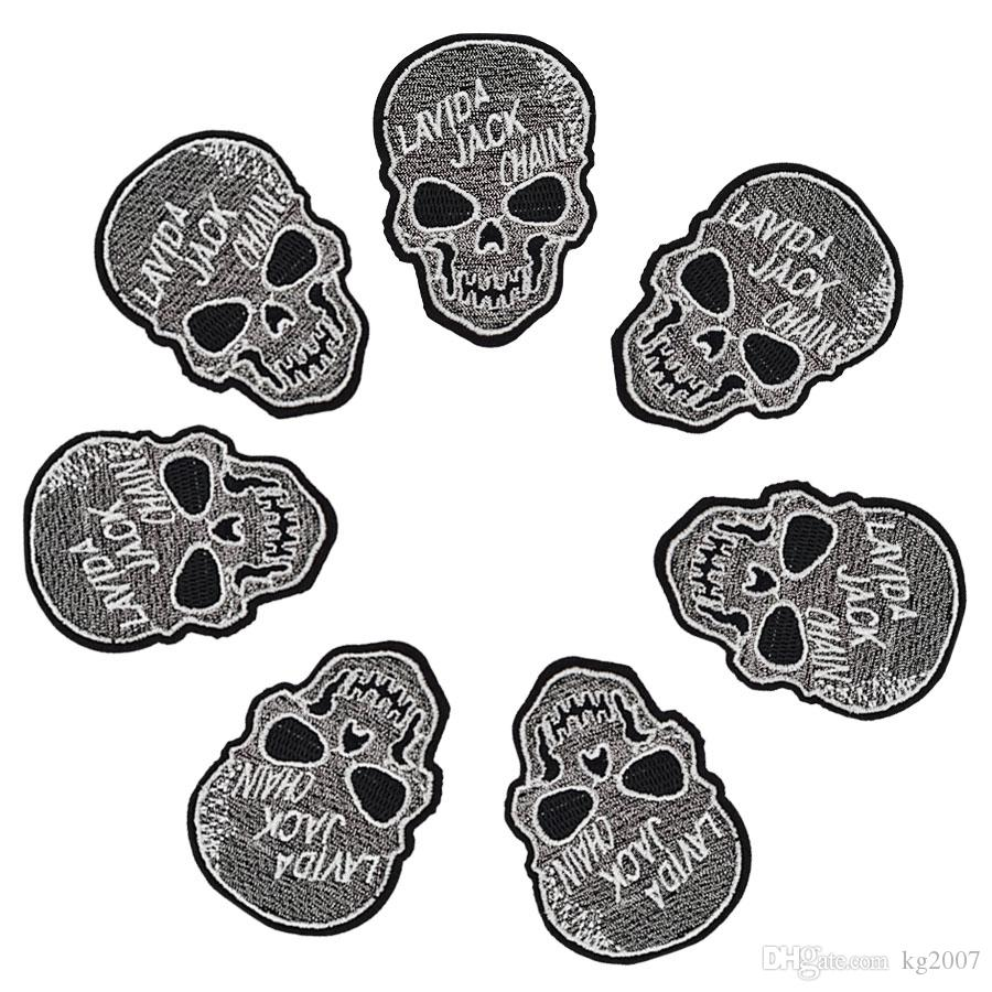 10 pcs Punk Skull patches badges for clothing iron embroidered patch applique iron on patches sewing accessories for DIY clothes DZ-354