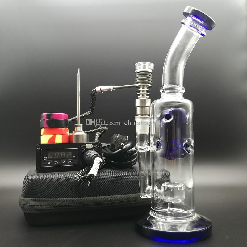 Portable dab rig E dab nail electric dabber nails kit Ti/Qtz hybrid nail PID box heater coil for bent Blue oil rigs