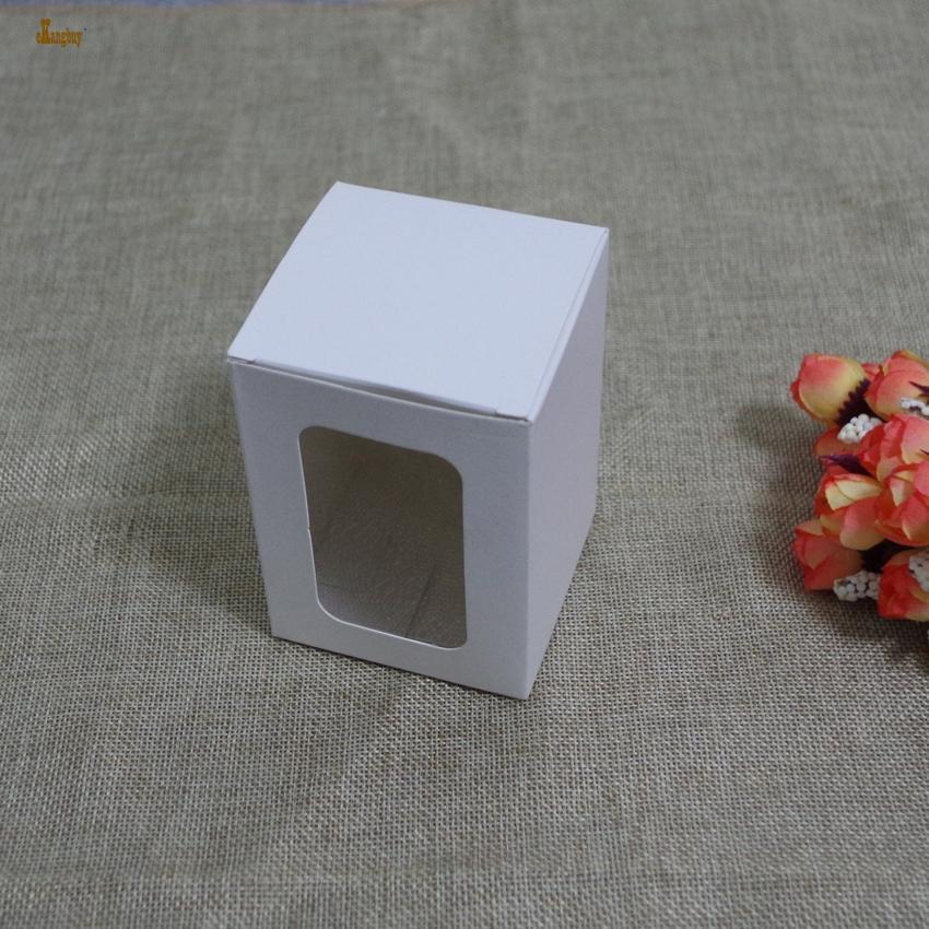 50 pz / lotto 7x7x7 cm ~ 10x10x12 cm Scatola di Carta Bianca con finestra Regalo Artigianale Panetteria Biscotti Caramelle Giocattoli Modello Imballaggio Scatole di Cartone