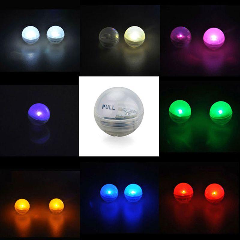 50pcs / lot Peri LED İnciler !!! Düğün Dekorasyon 2 CM Mini Renkli Küçük Pil Led Karpuzu Su Geçirmez Yüzer LED BerriesLights