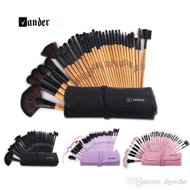 Vente en gros VANDER Professional 32 pcs Maquillage brosse pour les femmes visage doux lèvres Sourcils Ombre Make Up Brush Set Kit + Sac pochette Maquiagem