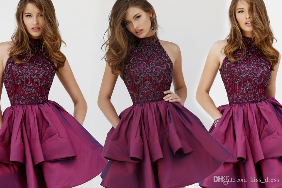 Yüksek Boyun A Hattı Kokteyl Elbiseleri 2019 Yeni Varış vestidos de fiesta Aplikler Homecoming Abiye Custom Made Draped Muhteşem Moda