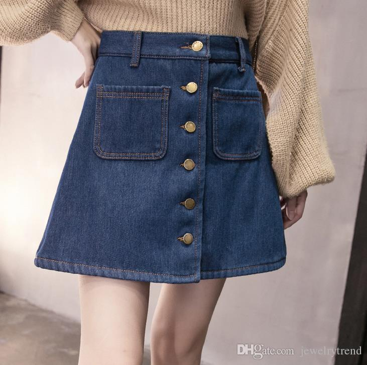 2019 Summer Ladys Denim Skirt Womens A Line Buttons Pockets Short Mini Jeans Skirt Casual Skirts From Jewelrytrend 1448 Dhgatecom