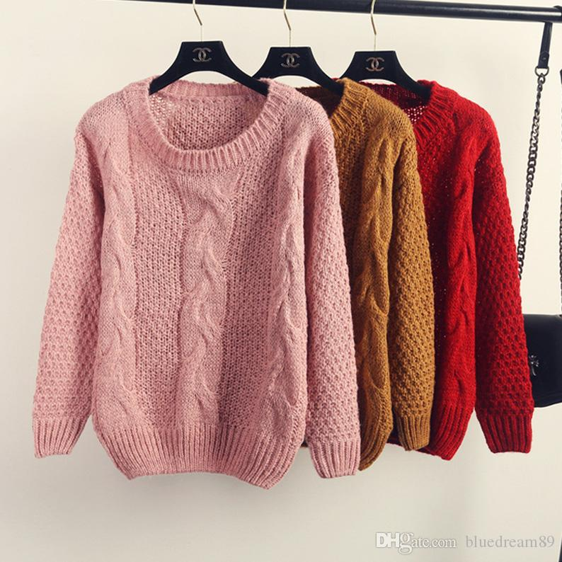 Twist knitted sweater women female students Korean loose autumn shirt woman tops hedging cashmere sweaters for winter clothing