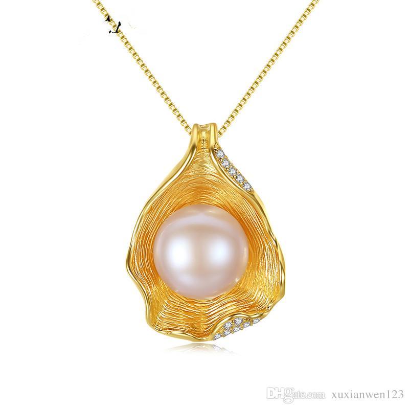 Hot charm shell design perla gioielli perla collana pendente 925 gioielli argento sterling gioielli collane per le donne