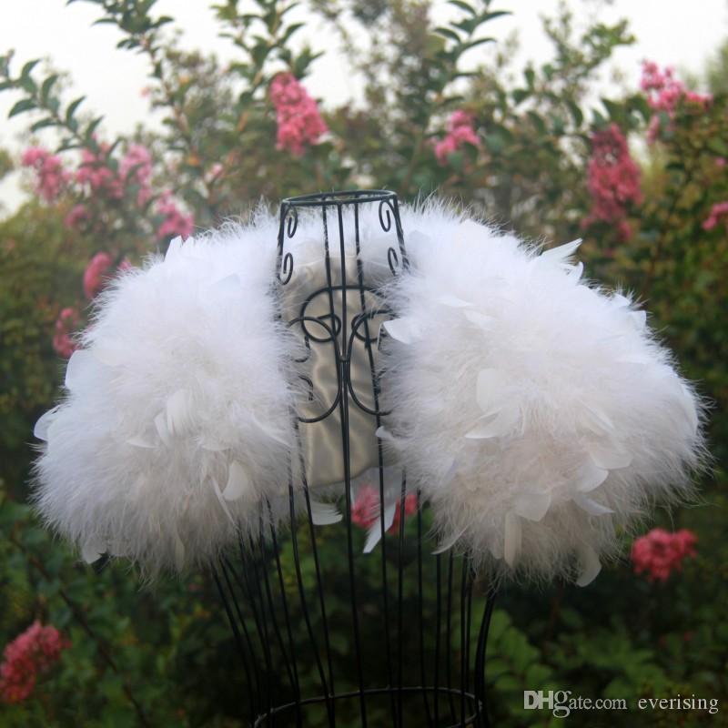 타조 깃털 화이트 웨딩 모피 코트 Manteau Fourrure Femme Bolero Mariage Feather Bolero 신부 자켓 겨울 코트 여성