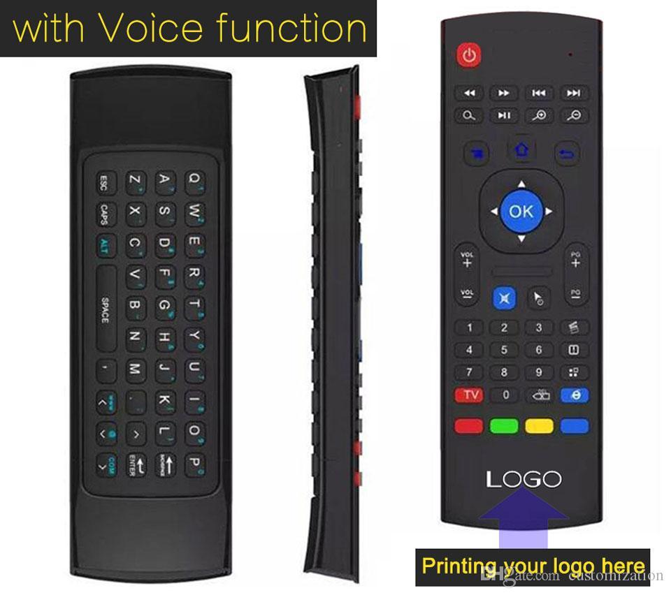 10pcs Custom Made T2 T3 X8 W/Microphone Mini 2.4GHz Wireless Gyroscope Keyboard Air Mouse Remote G-Sensor Gyroscope For MXQ TV BOX