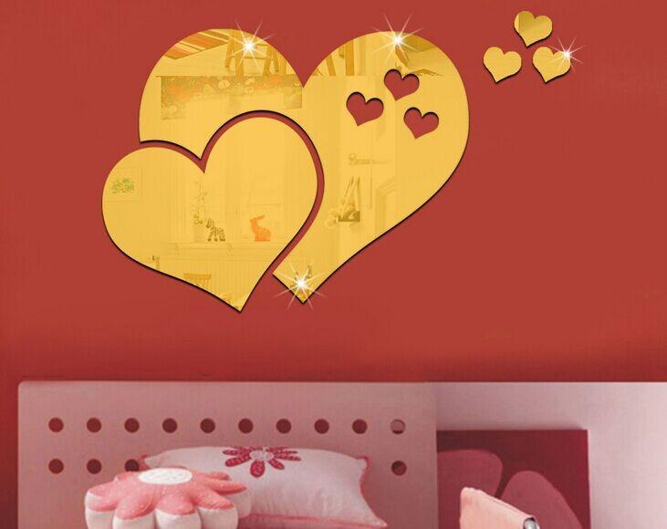 57x97cm 23x39in 3d Pvc Love Heart Mirror Wall Stickers Self Adhesive ...