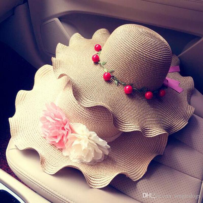 Мода цветочные пляж шляпа большой дискеты волны соломенная шляпа для дамы широкими полями пляж Sun Cap с галстуком-бабочкой летние каникулы Бесплатная доставка