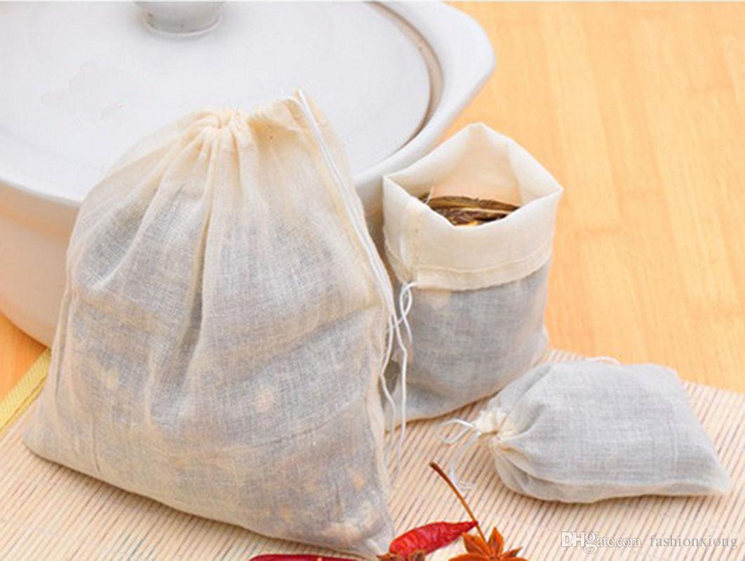 Wholesale Hot Sale Portable 100pcs 13 x 16cm Cotton Muslin Reusable Drawstring Bags Packing Bath Soap Herbs Filter Tea Bags