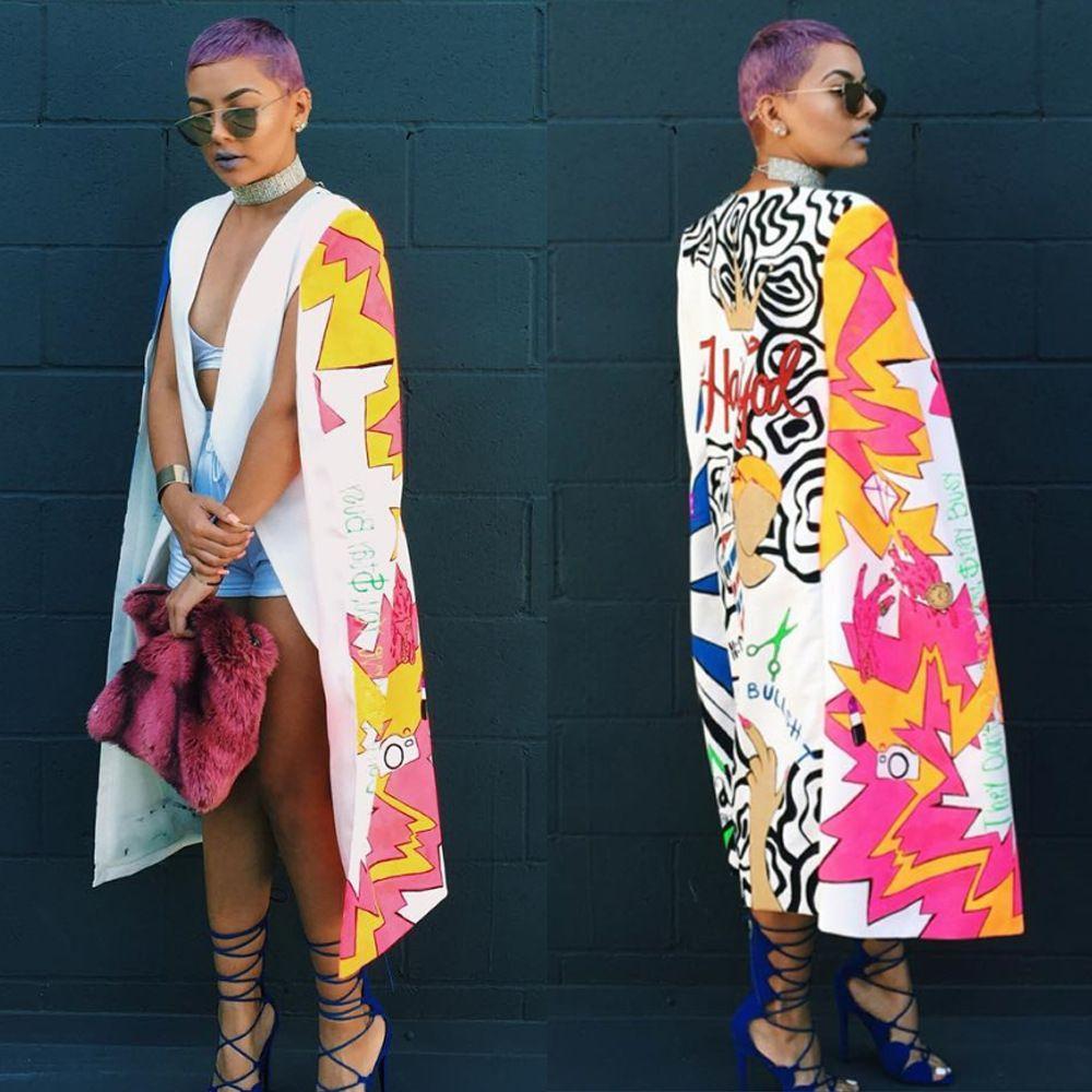 All'ingrosso qualità superiore alto design 2016 mantello maniche lunghe maxi vestito sexy abiti stampati novità benda vestito W1620