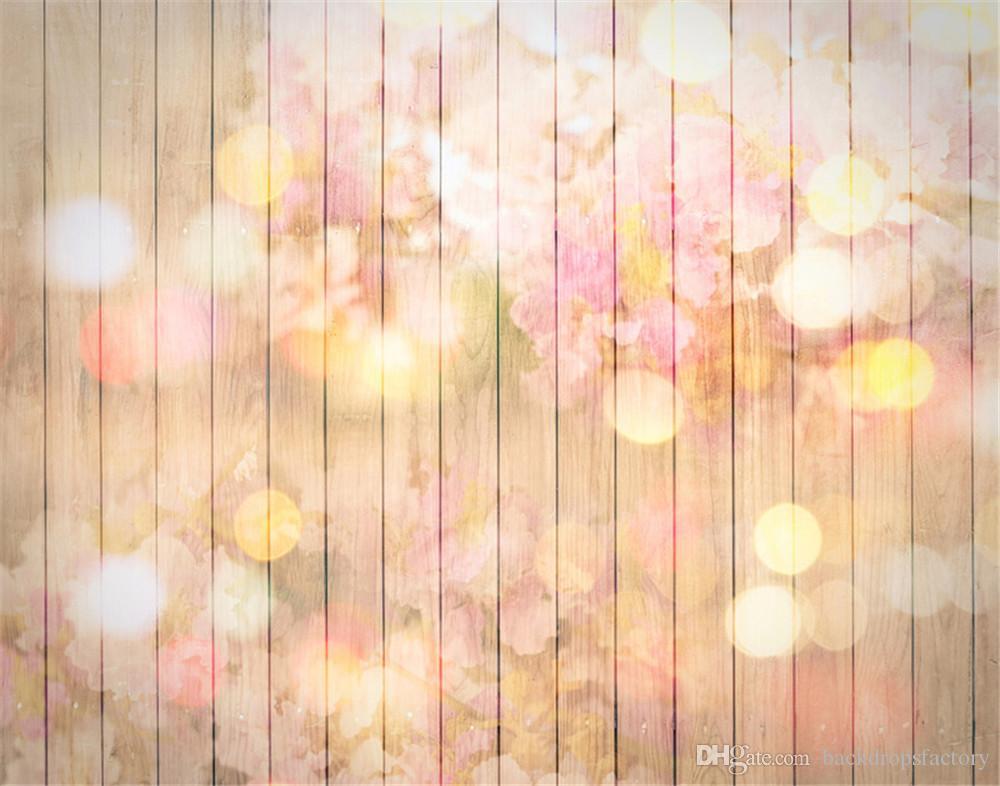 Baby Newborn Photography Backdrops Wood Digital Printed Pink Flowers Bokeh Polka Dots Wallpaper Floral Photo Shoot Background 7x5ft