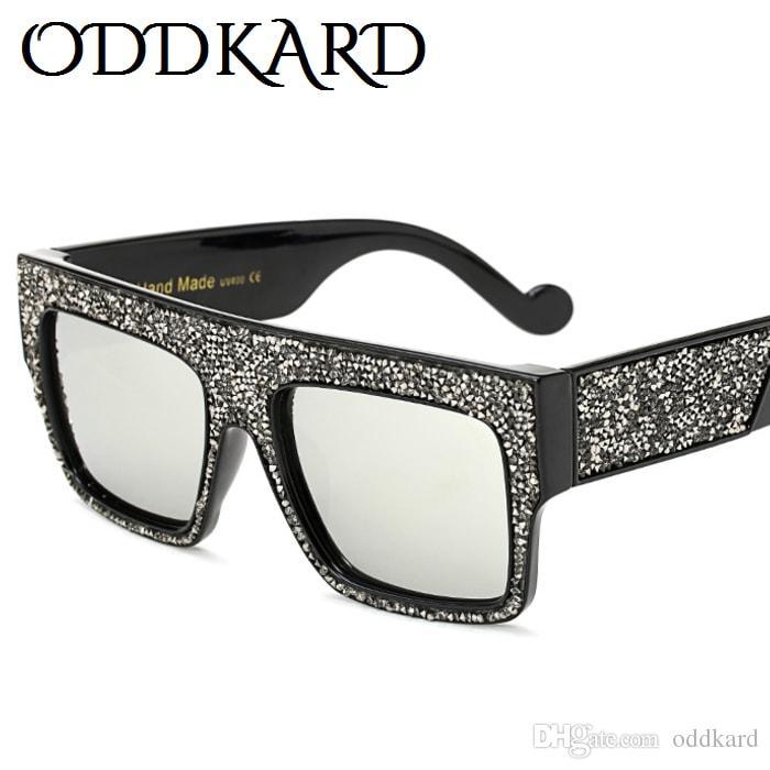 ODDKARD بريميوم كريستال موضة نظارات شمسية للرجال والنساء أنيقة فئة العلامة التجارية مصمم ساحة نظارات شمس oculos de sol UV400