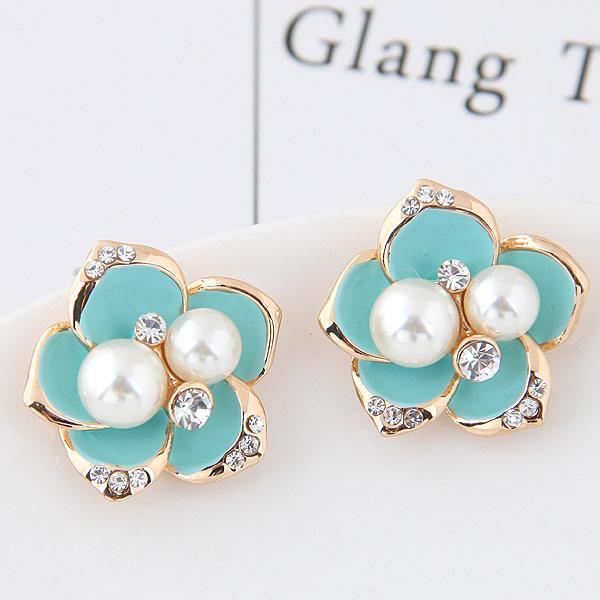 Brincos Vergoldete Blume Ohrstecker Für Frauen Bijoux Imitation Perle Ohrringe Tschechische Kristall Ohrringe Modeschmuck