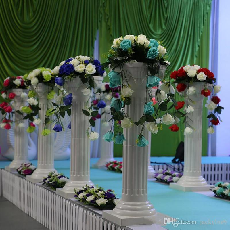 New Arrival Hollow Roman Column+Artificial Rose Flower Bouquet Sets Road Lead Pillar For Wedding Decoarion Free Shipping