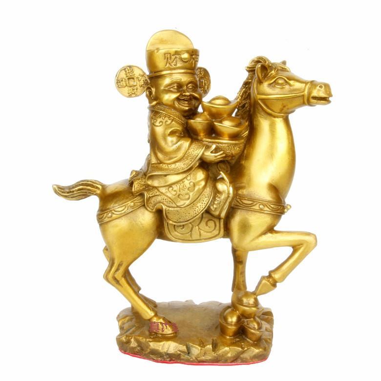 Chine Folk Dieu De La Richesse Mammon Monter À Cheval en laiton statue grand