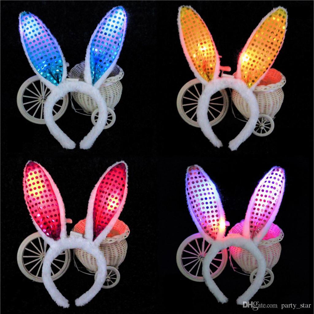 Children Kids Birthday LED Headband Headwear Masquerade Performance Show Flash Rabbit Ears Headwear Girls Sequins Plush Headband Decorations