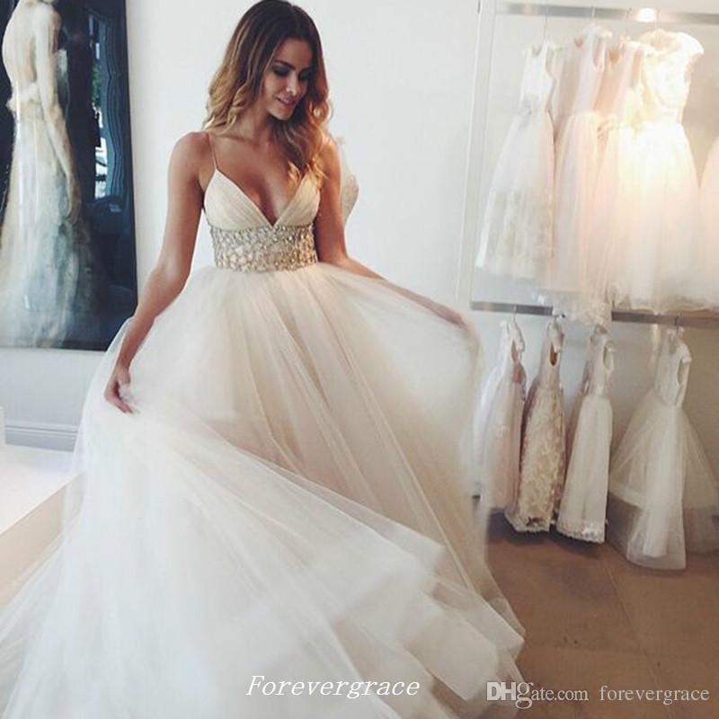 Sangle de spaghetti romantique Robe de mariée de taille perlée A-Line Longues femmes de mariée de mariée de mariée Plus Taille Vestido de Noiva Longo