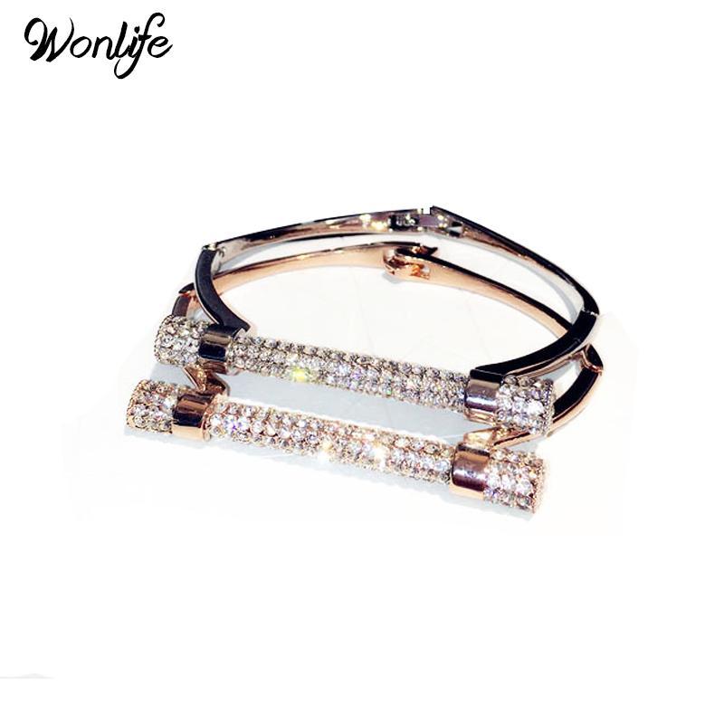Cristal de luxe en fer à cheval Cuff Bracelet Marque Bangles Or Couleur Argent Femmes Bijoux bras strass manchette Pulseira Feminina