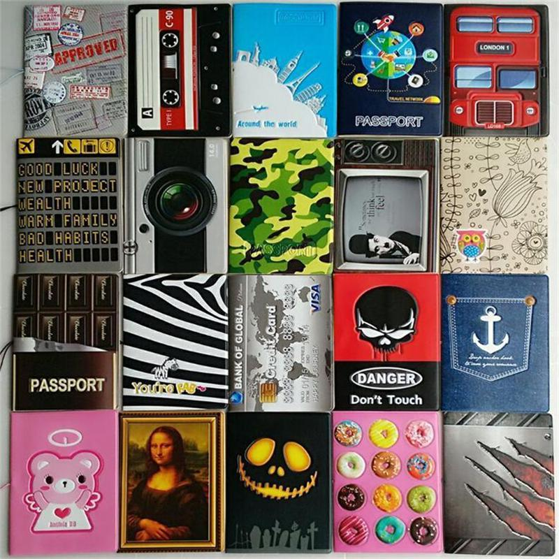 Wholesale- New boys like cool cartoon passport holders, men travel passport cover, pvc leather 3D Design 22 different styles to choose