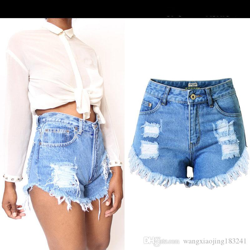 ce8263e33d53 2017 Summer Womens Blue Hole Ripped high waisted denim shorts Casual Cotton  Cute Hot Jean Shorts for Girls on Sale