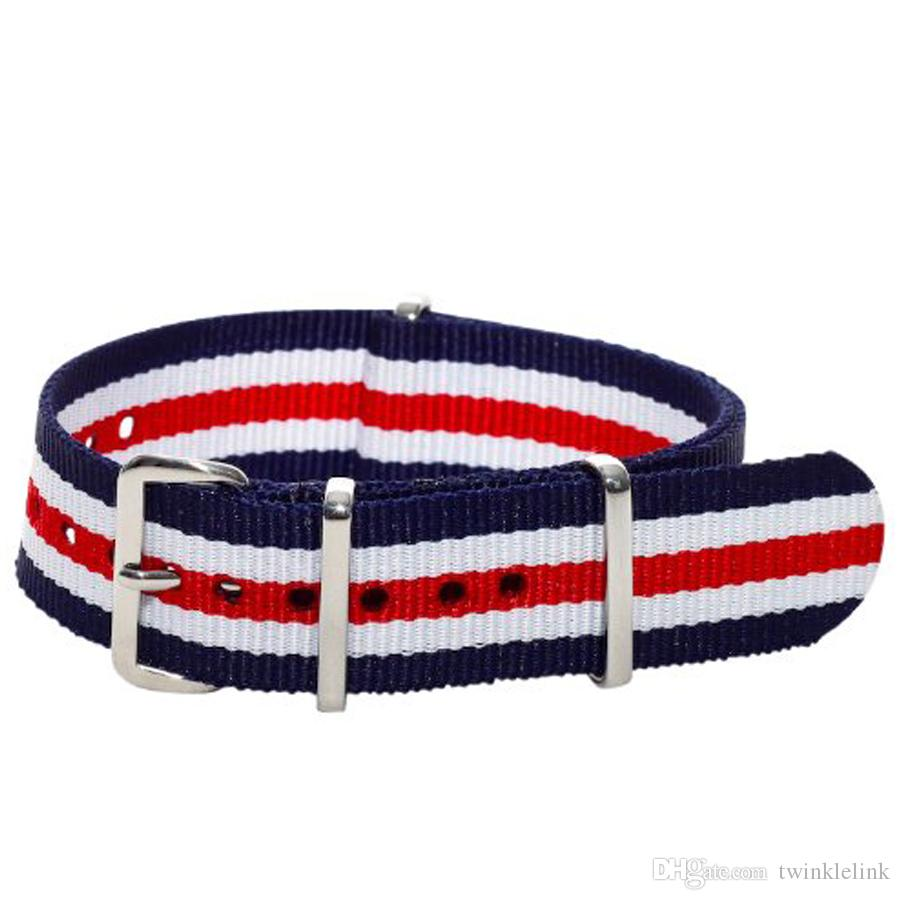 Wholesales 20mm Blue Red White Multi Stripes Nylon Military Nato Watch Strap Band Watchband